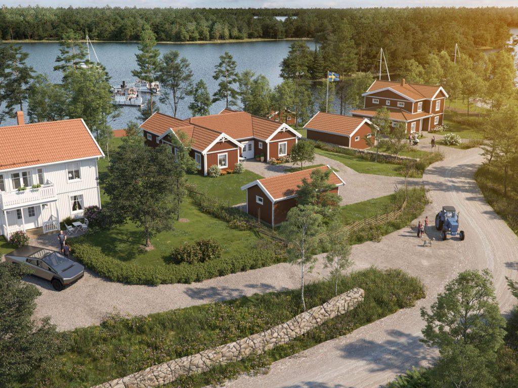 Visionsbild över Löparö Skärgårdsby med en vidunderlig utsikt över Furusundsleden och de närliggande öarna. Här kan man bekvämt titta på båtliv, finlandsfärjor, skärgårdsbåtar, sjöfågel och leva i harmoni med djur, natur och hav.